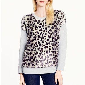 KATE SPADE Snow Leopard Faux Fur Sweatshirt